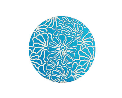 Lillypilly Turquoise Weathered Daisy Anodized Aluminum Disc 25mm, 24 gauge