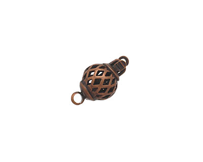 Antique Copper (plated) Filigree Round Clasp 15x7mm