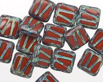Czech Glass Umber Picasso Carved Square 10mm