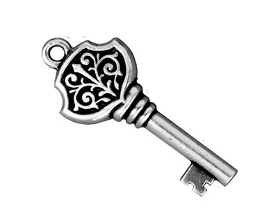 TierraCast Antique Silver (plated) Victorian Key Pendant 15x36mm