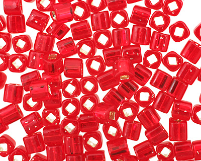 TOHO Ruby (with Silver Lining) Cube 4mm Seed Bead