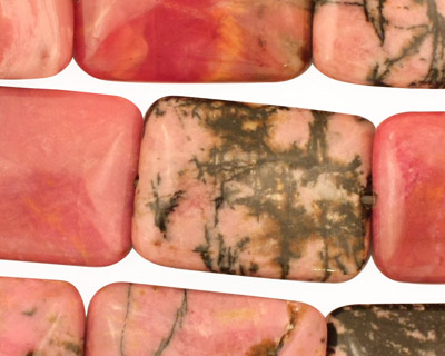 Rhodonite (w/ extra black matrix) Thin Pillow 25x18mm