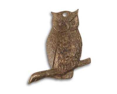 Vintaj Natural Brass Perching Owl Pendant 21x22mm