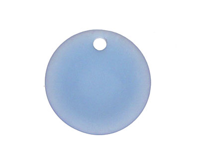 Light Sapphire Recycled Glass Concave Coin 24mm