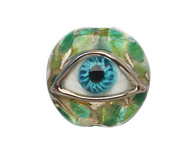 Grace Lampwork Green Eyed Lentil Focal Bead 27-28mm