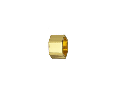Gold (plated) Hexagon Noodle Bead 8x12mm
