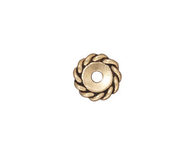 TierraCast Antique Gold (plated) Large Hole Twisted Heishi 2x11mm