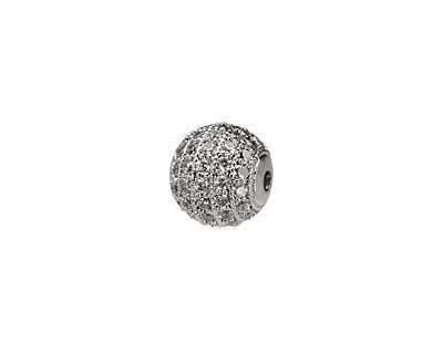 Antique Silver (plated) & CZ Micro Pave Round 10mm