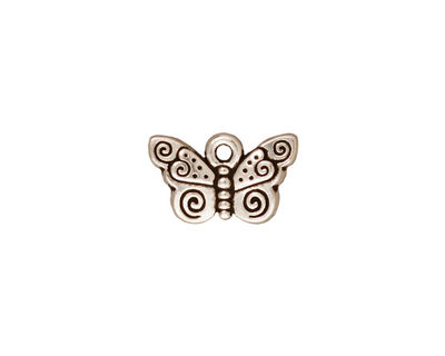 TierraCast Antique Silver (plated) Spiral Butterfly Charm 15x19mm