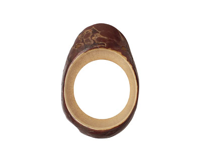 Tagua Nut Parchment Open Slice (side drilled) 33-45x24-36mm