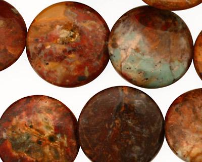 African Rainbow Agate Puff Coin 20mm