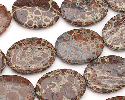 Brown Snowflake Agate Flat Oval 40x30mm