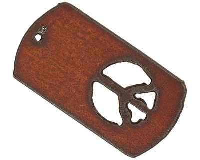 The Lipstick Ranch Rusted Iron Peace Dog Tag Pendant 30x55mm