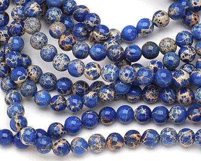 Midnight Blue Impression Jasper Round 8mm
