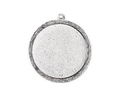 Nunn Design Antique Silver (plated) Raised Tag Grande Circle Pendant 37x40mm