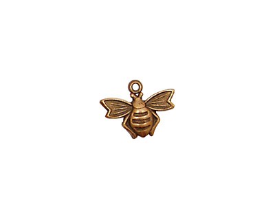 Stampt Antique Copper (plated) Flying Bee Charm 13x10mm