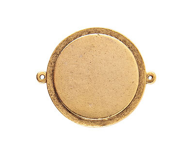 Nunn Design Antique Gold (plated) Raised Tag Grande Circle Link 44x37mm