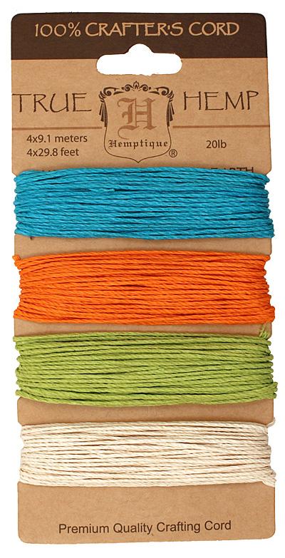 Bright Hemp Twine 20 lb, 29.8 ft x 4 colors