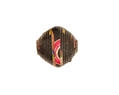 African Paper (black, yellow, red) Bicone 14-15x15-16mm