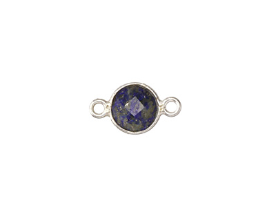 Lapis Faceted Coin Link in Sterling Silver 15-16x8-9mm