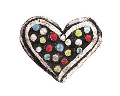 Jangles Ceramic Black Heart Pendant 40-43x35-36mm