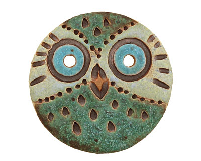 Kylie Parry Ceramic Carved Owl Button 33mm