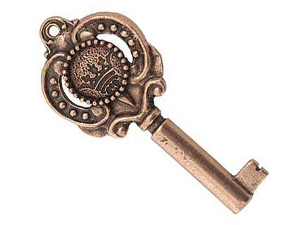 Nunn Design Antique Copper (plated) Small Key Pendant 48x21mm