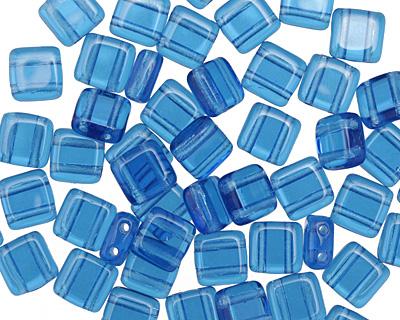 CzechMates Glass Capri Blue 2-Hole Tile 6mm