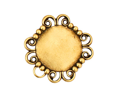 Stampt Antique Brass Lace Banded Round Setting 15mm