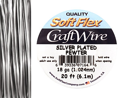 Soft Flex Silver Plated Pewter Craft Wire 18 gauge, 20 ft