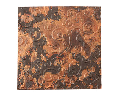 Lillypilly Mottled Scrolling Vine Embossed Patina Copper Sheet 3