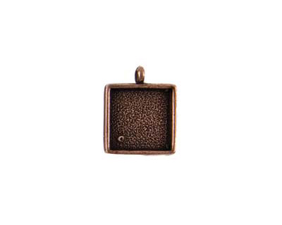 Nunn Design Antique Copper (plated) Small Square Bezel Pendant 18x26mm