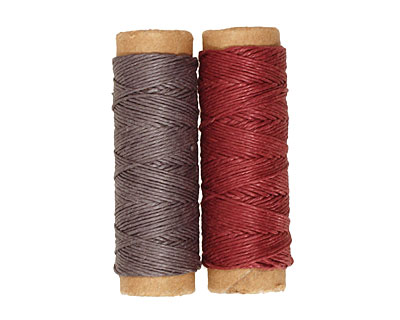 Gray/Burgundy Hemp Twine 10 lb, 29 ft x 2 colors