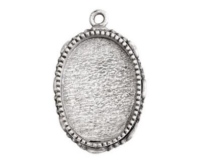 Nunn Design Antique Silver (plated) Large Ornate Oval Bezel Pendant 23x35mm