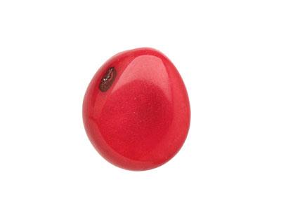 Tagua Nut Red Flat Pebble 35-45x28-37mm