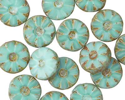 Czech Glass Turquoise Mint Daisy Coin 12mm
