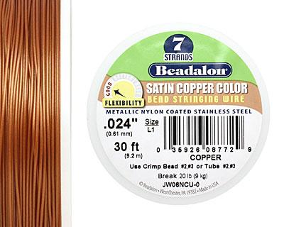 Beadalon Satin Copper Nylon Coated Stainless Steel .024