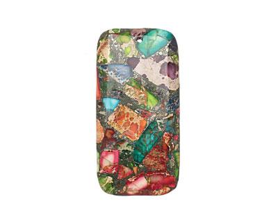 Mardi Gras (Mixed Impression) Jasper Rectangle Pendant 30x60mm