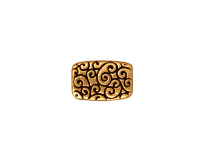TierraCast Antique Gold (plated) Rectangle Scroll Bead 14x9mm