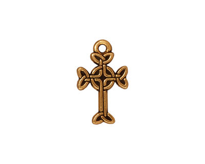 TierraCast Antique Gold (plated) Celtic Cross Charm 11x18mm