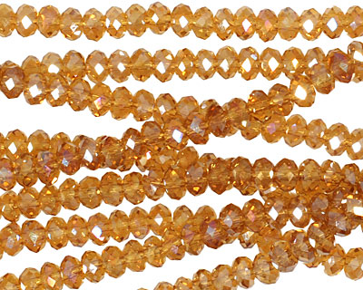 Medium Topaz AB Crystal Faceted Rondelle 4mm