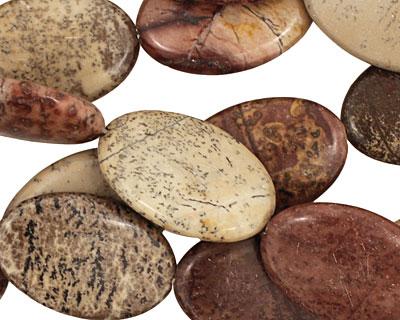 Coffee Bean Jasper Flat Oval 30x20mm