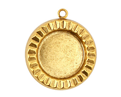 Stampt Antique Gold (plated) Sunburst Round Setting 18mm