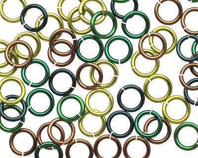 Camo Mix Enameled Copper Round Jump Ring 6.5mm, 18 gauge