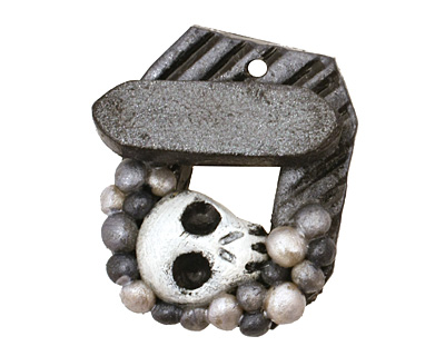 Poison Tree Polymer Clay Grey Skull Toggle Clasp 27x22mm, 21mm bar