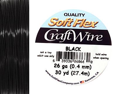 Soft Flex Black Craft Wire 26 gauge, 30 yards