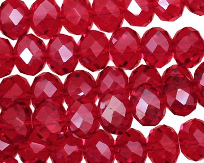 Garnet Crystal Faceted Rondelle 10mm