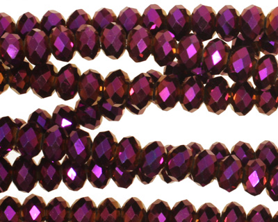 Metallic Gold Raspberry Crystal Faceted Rondelle 6mm