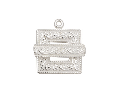 Silver (plated) Scroll Square Toggle Clasp 22x18mm, 21mm bar