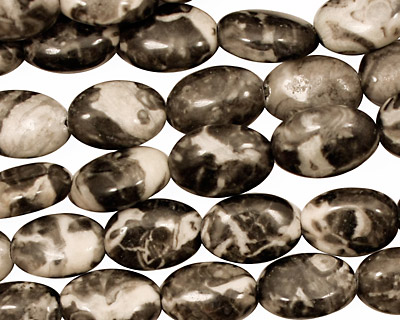 Black Tree Agate Flat Oval 12x8mm
